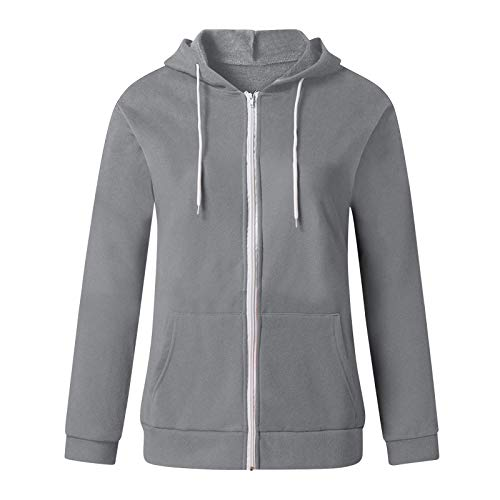 Janly Clearance Sale Women's Long Sleeve Tops, Womens Hoodie Full Zip Long Sleeve Lightweight Sweatshirts Pockets Jacket Coat, Women Plain Color Blouse for Easter Gifts Deal (Gray-M)