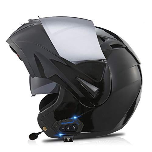 Casco De Motocicleta Con Bluetooth ECE Homologado Casco De Moto Integral Modular Casco Motocross Scooter Con Doble Visera Y Micrófono Para Hombre Y Mujer Adulto H,XL