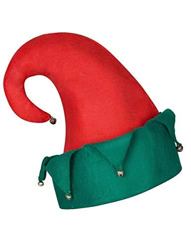 Vegaoo - Gorro Duende cascabeles Navidad Adulto - Única