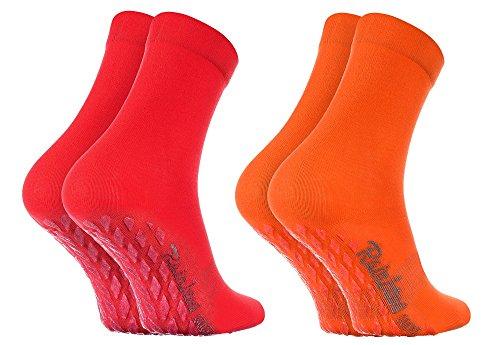 Rainbow Socks - Damen Herren Bunte Baumwolle Antirutsch Socken ABS - 2 Paar - Orange Rot - Größen EU 39-41