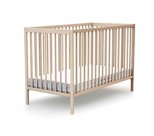 Lit à barreaux en bois 70x140cm Baby Fox - Hêtre Vernis