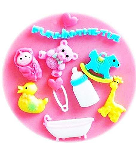 KIRALOVE Stampo in Silicone a Forma di Bambini - Accessori - Cavallo a Dondolo - Giraffa - Spilla - Vasca da Bagno - Cuore - Papera - Baby - calchi - Stampino per utilizzo Artigianale