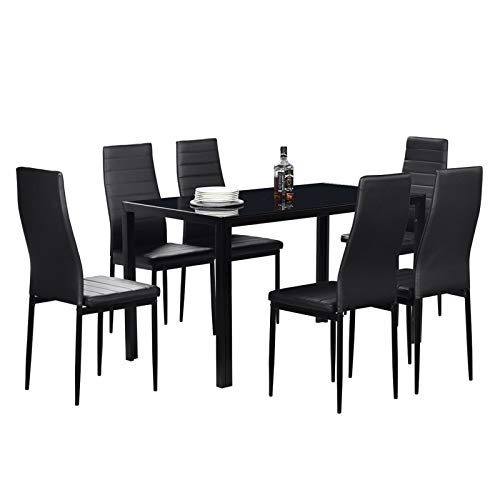 LJYLF Modern Dining Room Set Furniture Tempered Glass & Iron Dinner Table for Small Dinette Apartment Space Saving