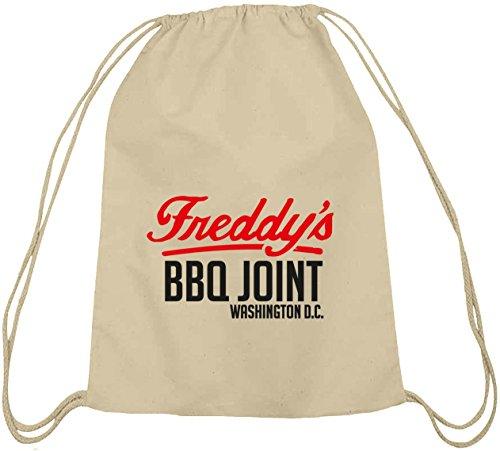Shirtstreet24, HOC - Freddys BBQ Joint, Baumwoll natur Turnbeutel Rucksack Sport Beutel, Größe: onesize,natur