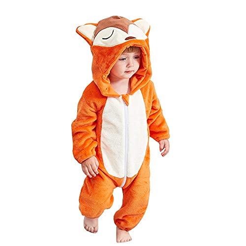 N\C ZSCC Mameluco de bebé Mono con Capucha de Animal Lindo Pijama de Dibujos Animados de Franela Caliente para niños pequeños niñas Otoño Invierno Mono Regalo