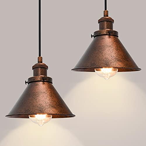 OYIPRO Retro Lámpara Colgante de Techo Metal Vintage Iluminación Lámparas de araña Acabado de cobre E27 para Cocina Comedor Habitación Bar Restaurante (Sin bombilla)