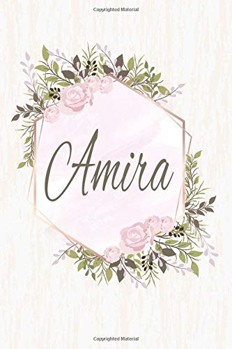Amira: Personalized Name Floral Blank Lined Journal For Girls And Women