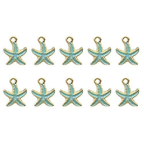 Kentop 10pcs Colgantes Adornos DIY en Forma de Estrella de Mar para Pulsera Collar de DIY,1.3 * 1.7CM