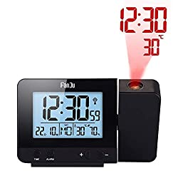 Projection Clock, Dimmable LCD Display, Screen Digital Alarm Clock, Dual Alarm with USB Charging Port, 12/24 Hours, Indoor Temperature/Day/Date Display with Dimming (Black)