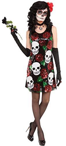 Forum Novelties 78138Totenkopf und Rosen Pailletten Kleid XS/S UK Größe 8-10