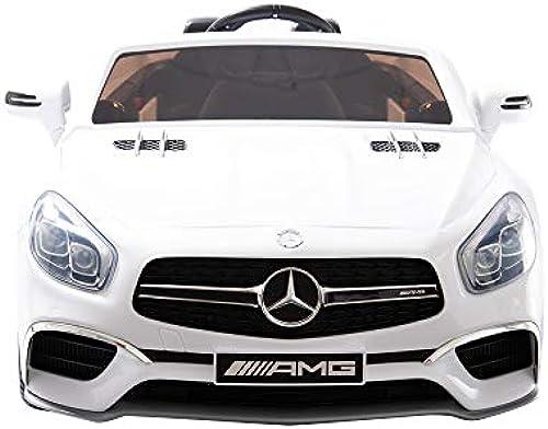 Linexstore Mercedes-Benz Kinderelektroauto SL65 AMG 12V + Fernbedienung - Elektro Kinderauto Kinderfahrzeug Kinder Elektroauto - (Weiß)