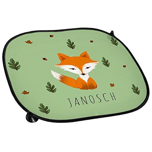 Auto-Sonnenschutz mit Namen Janosch und schönem Motiv mit Aquarell-Fuchs für Jungen | Auto-Blendschutz | Sonnenblende | Sichtschutz