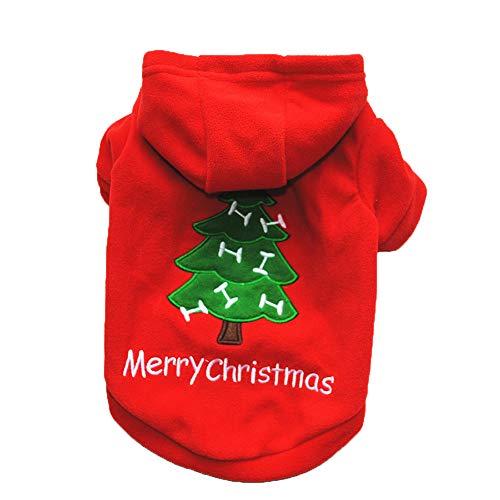 Culater® 2018 Maglietta con Cappuccio Stampata Natale Unisex per Cani da Vacanza Abbigliamento Maglioni Animali progettati per Cani di Piccola Taglia (M, Rosso)
