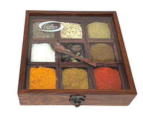 Galaxy Indiacraft Caja multiusos de madera para especias Masala Dabba Contenedores para cocina y frutas secas con cuchara de madera gratuita (9 compartimentos)