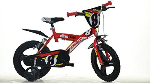 Dino Bikes Sport 163 GLN 16 Pouce KIDSBIKE Boy vélo, Bicyclette, Enfant-Velo, bécane, vélocipède, Rouler en vélo, Faire du vélo.Rouge.stabilisateurs.gardeboue. 16pouce 4-7 Ans 105-135cm