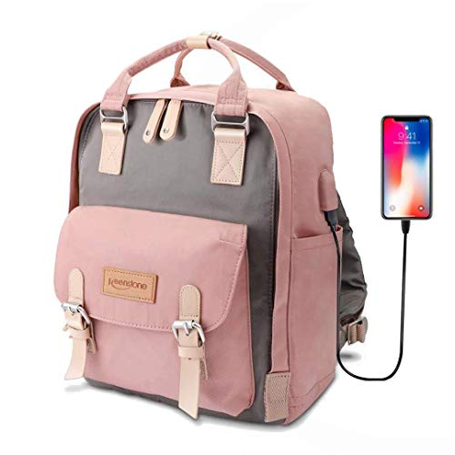 Pink Backpack for Women Cute School Bookbag with USB Charging Port 14 Inch Travel Laptop Backpack Water Resistant College Book Bag