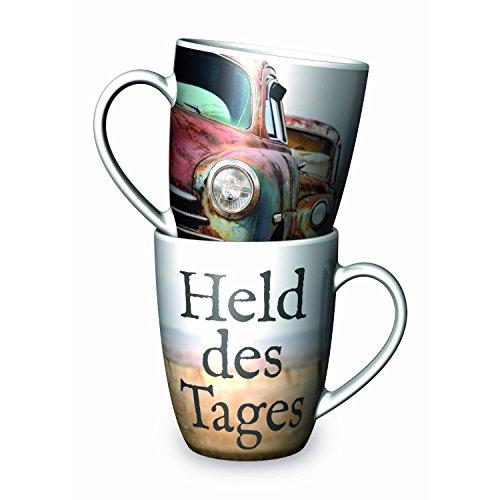 La Vida 9504501 Held des Tages Kaffeebecher, Porzellan, 250 ml, bunt (1 Stück)