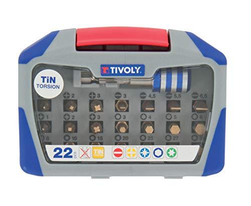 TIVOLY 11521572003 - Estuche de 22 tornillos torsion Tin, contiene 3 unidades, 3 ph, 7 tx, 4 hex, 4 fe, 1 portapuntas destornilladoras