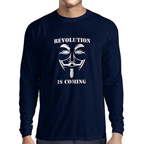 lepni.me Camiseta de Manga Larga para Hombre La Revolución se Acerca Hackers Anónimos Legión V para Vendetta (Medium Azul Blanco)