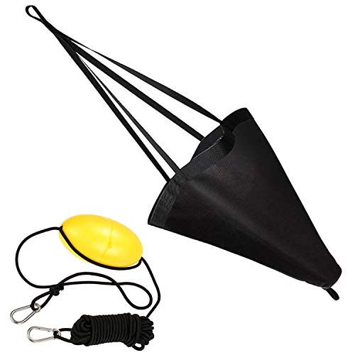 Ikerall Drift Socks sea Anchor Hook (32 inch Brown)+ 30ft Kayak Tow Rope Buoy Ball Float Suitable for The Ocean Boat/Wind Boat/Inflatable Boat/Power Boat etc