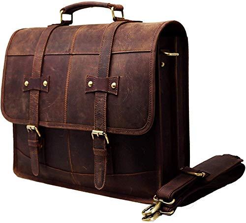 Urban Leder Herren Umhängetasche 17,3 Zoll Vintage echtes Büffelleder Aktentasche Große Umhängetasche aus robustem Leder Computer Laptop-Tasche, braun