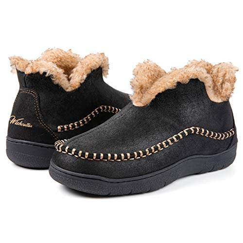 Wishcotton Men's Microsuede Fuzzy Warm Fleece Lining Moccasin Slippers Cozy Memory Foam Indoor Outdoor House Shoes Black