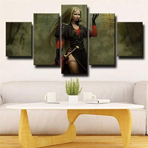 GHYTR Imagen sobre Lienzo Cuadros Abstractos Modernos XXL Poster 5 Piezas Mujer Guerrera Fantasía Arte De Pared Imágenes Modulares Sala De Estar Decoración para El Hogar 150X80Cm