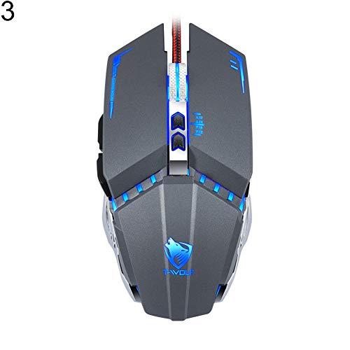 Kimilike muis, muis met kabel, V7 gaming-muis 4 ademlichten 3200Dpi Makro programmering optisch voor de meeste computers en laptops - 4 toetsen Ergonomische vormfactor. 3
