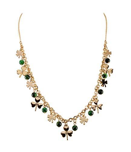 SIX Damen Halskette, Gliederkette, St. Patricks Day, Kleeblatt, Perlen, Glück, Gold, grün (779-344)