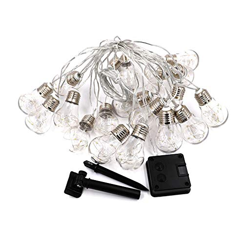 Solar String Lights Outdoor Edison Retro Plastic 10 Bulbs Hanging Waterproof Deck Yard Tent Party Decoration String Lights-Warm White