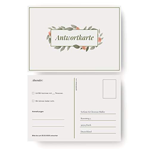 (10 x) Antwortkarten Hochzeit Hochzeitskarten Antwort Postkarte Einladung - Schlicht
