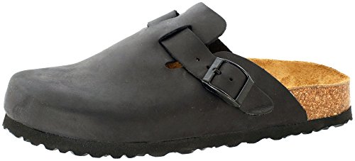 JOE N JOYCE Amsterdam Clogs with a Comfort-Footbed, Normal Width, Size: W11/M9 US, Black, Slippers Cork-Shoes Closed Sandals House-Shoes