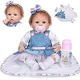 42cm Yeux Bleus Fait à la Main réaliste bébé poupée avec Jupe en Jean Chiffons réaliste Fille Reborn poupée pour Enfants Anniversaire