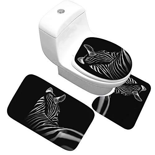 YSDDM Badmat Eenvoudig Modieus Zebra Patroon Badkamer Absorberende Vloermat 3 Stuks Bad Tapijt Set Niet slip Bad Tapijt Toilet Badmatten-in Badmatten van Thuis & Tuin