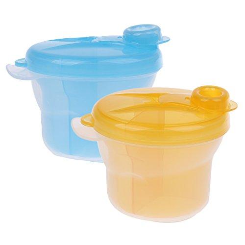 Gazechimp 2 Stück Snack-Portionierer Milchpulverportionierer Baby Schälchen mit Deckel Aufbewahrungsbox - Gelb und blau, 2 Stück