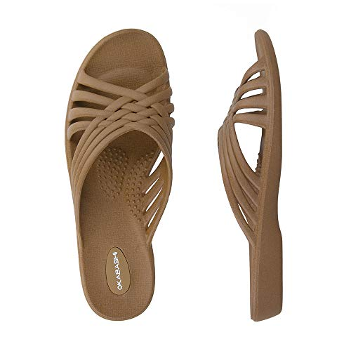 OKABASHI Women's Venice Sandals (Toffee, ML)   Daily Sandals w/Arch Support   Helps Relieve Foot Soreness & Pain