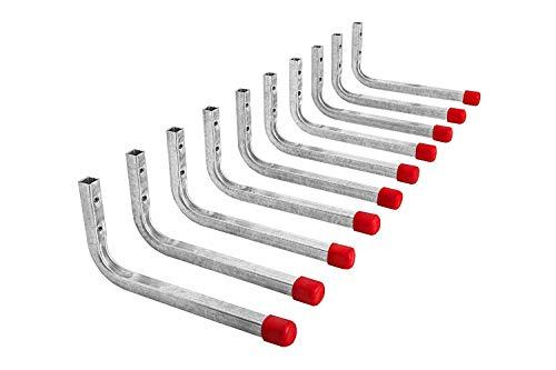Gedotec Wandhaken Garage Stahlhaken Werkstatt Montagehaken L-Form   Stahl verzinkt   360 x 165 mm   universal Geräte-Haken lang die Wand-Montage   10 Stück - große Gerätehalter Metall zum Schrauben
