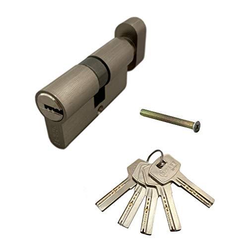 Tür 60mm (30/30) Knaufzylinder | Zylinderschloss mit Knauf | Schliesszylinder | Haustürschloss mit Bohrschutz | Einbauschloss inkl. 5x Bohrmuldenschlüssel