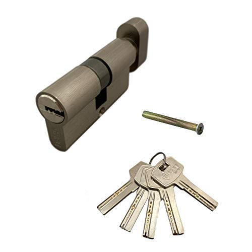 Tür 80mm (40/40) Knaufzylinder | Zylinderschloss mit Knauf | Schliesszylinder | Haustürschloss mit Bohrschutz | Einbauschloss inkl. 5x Bohrmuldenschlüssel