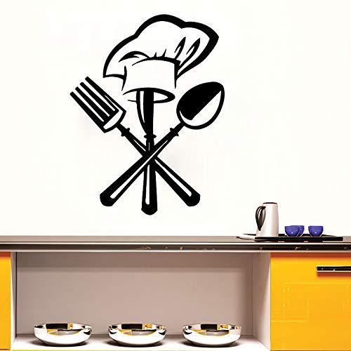 Tianpengyuanshuai chef-hoed servies vork lepel muursticker creatieve keuken hoofddecoratie kunst wandafbeelding woonkamer decoratie
