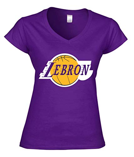 Purple Los Angeles Lebron Logo Ladies V-Neck T-Shirt Adult