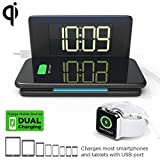 Compact Digital Alarm Clock with Wireless Charging & USB Port for Apple Watch/Tablet