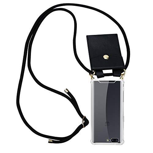 Cadorabo Handy Kette für OnePlus 5 in SCHWARZ – Silikon Necklace Umhänge Hülle mit Gold Ringen, Kordel Band Schnur & abnehmbarem Etui – Schutzhülle