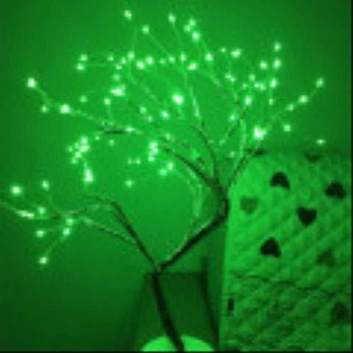Luces LED de árbol perlado con forma de estrella, para regalo, decoración navideña, color verde claro, 108 luces de cobre