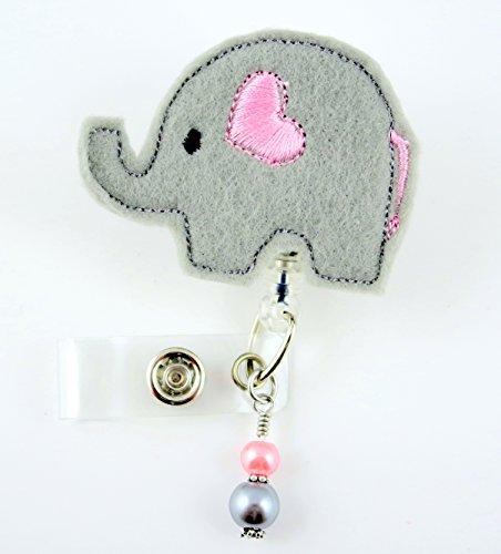 Grey Elephant w/Pink Heart - Nurse Badge Reel - Retractable ID Badge Holder - Nurse Badge - Badge Clip - Badge Reels - Pediatric - RN - Name Badge Holder