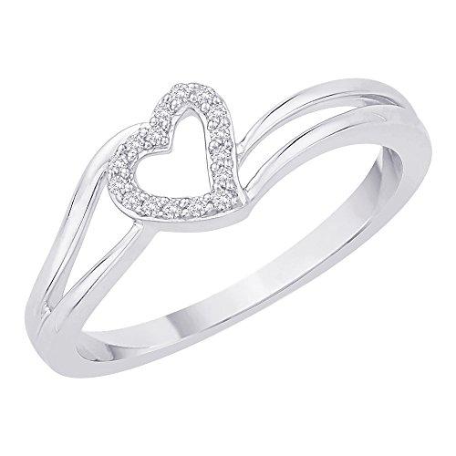 Anillo de corazón de diamantes en plata de ley (1/20quilates)