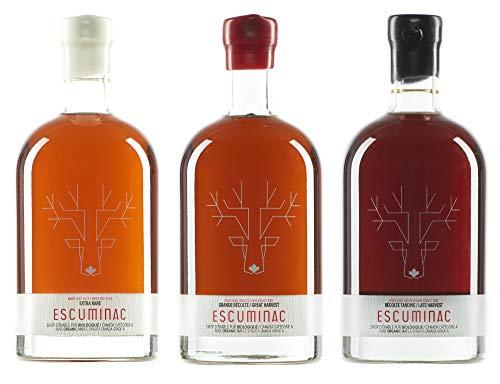 Escuminac Sirope De Arce Canadiense Paquete De Regalo - Extra Rare, Great Harvest, Late Harvest - Bosque único sin mezcla orgánico puro - 3 X 16.9 fl oz (500 ml) …