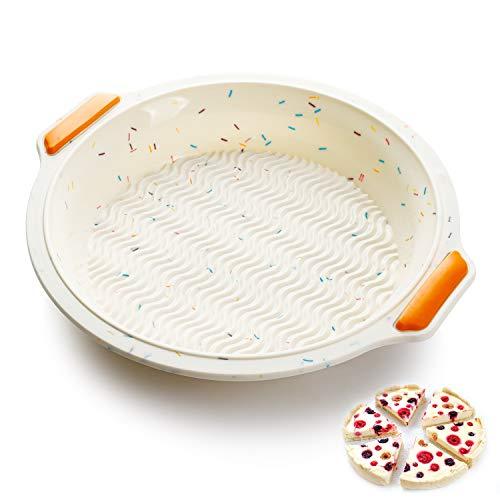 SveBake Rundform aus Silikon Ø 26 cm - Antihaft Quiche Kuchenform und Obstkuchenform Flexibel, Tartes-Backform, Tortenbodenform - Beige