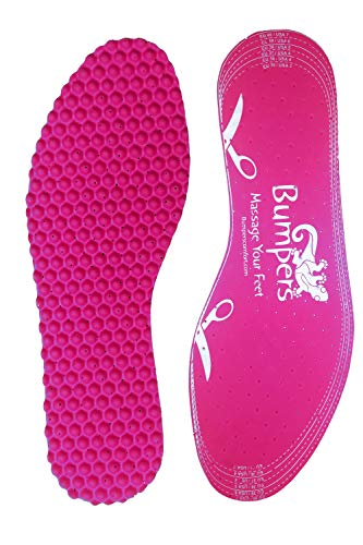 BUMPERS Massage Insoles: Unisex Pink Inner Sole Inserts, Bumps Massage Pressure Points, Relieves Feet, Legs, Back Pain, Universal Cut-to-Size, 1 Pair