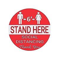 ACAO 10個の社会的分散車の屋内グラウンドステッカー距離マーカー「ここに距離を置いてください」フロアデカール(Color:赤)